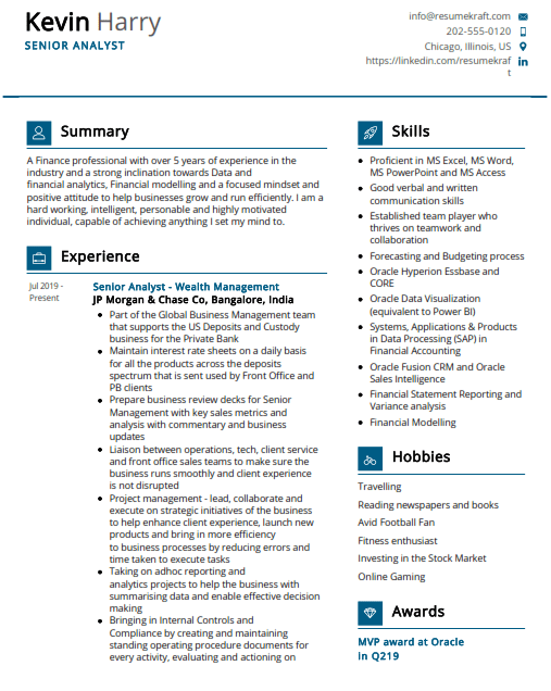Senior Analyst Resume Sample 4