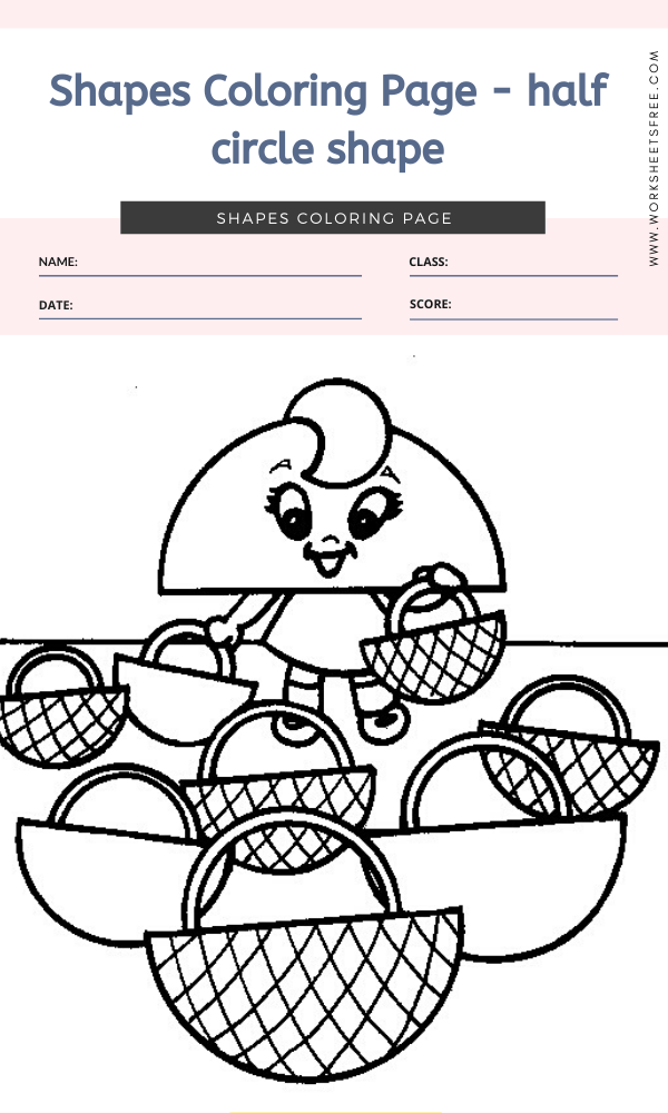 Shapes Coloring Page - half circle shape