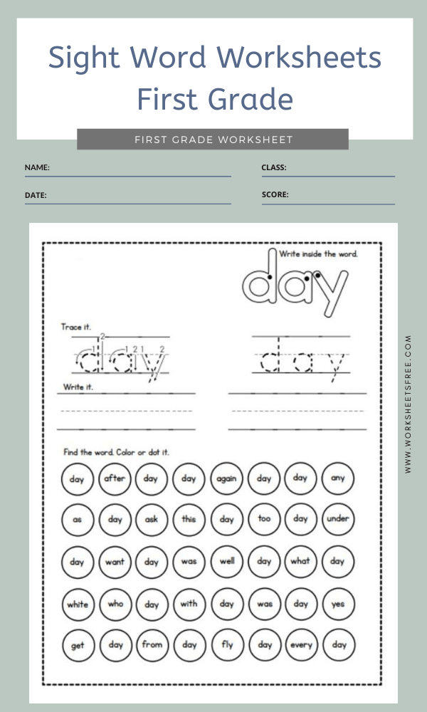 Sight Word Worksheets First Grade 8