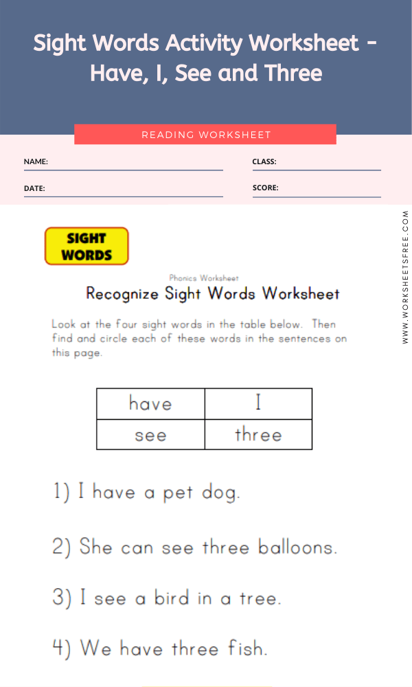 Sight Words Activity Worksheet - Have, I, See and Three