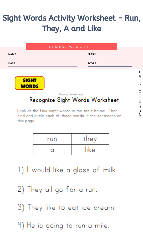 Sight Words Activity Worksheet - Run, They, A and Like