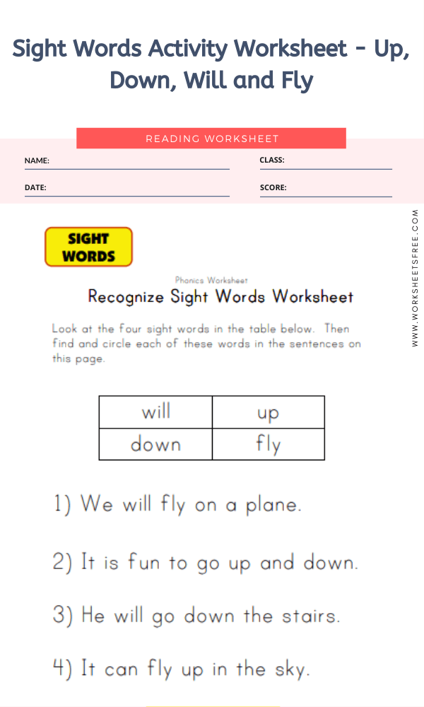 Sight Words Activity Worksheet - Up, Down, Will and Fly