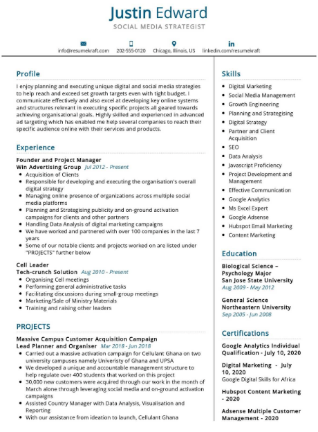 Social Media Strategist Resume Sample 4
