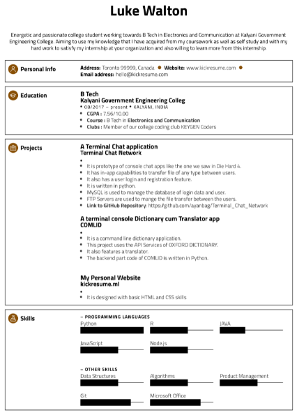 Software Engineering Internship Resume 3