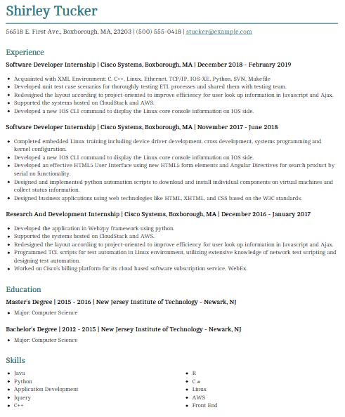 Software Engineering Internship Resume 4