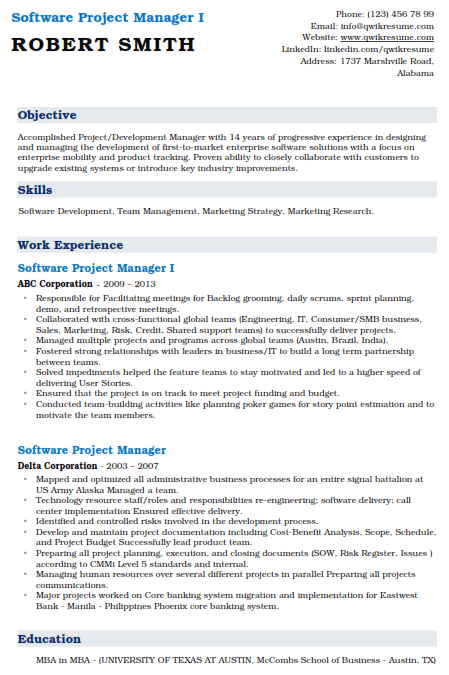 Software Project Manager Resume Sample 1