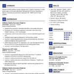 Software Quality Assurance Engineer Resume 1