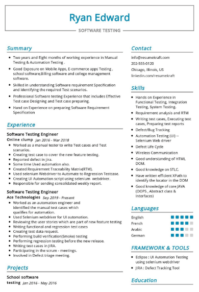 Software Tester Resume Example 2