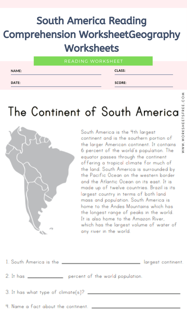 South America Reading Comprehension Worksheet