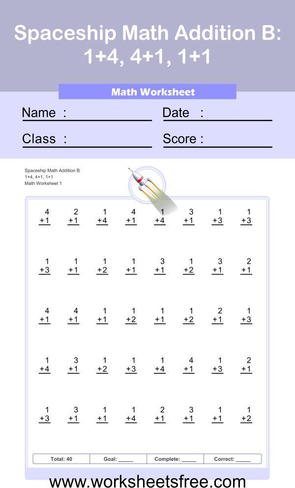 Spaceship Math Addition B worksheet 1