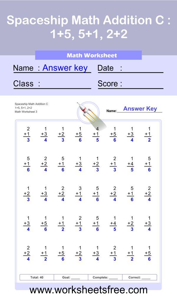 Spaceship Math Addition C 3 + answer