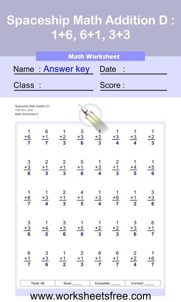 Spaceship Math Addition D 2 + Answer