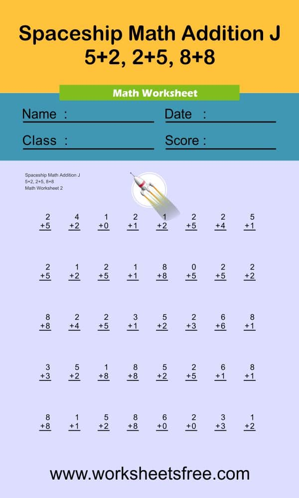 Spaceship Math Addition J 2