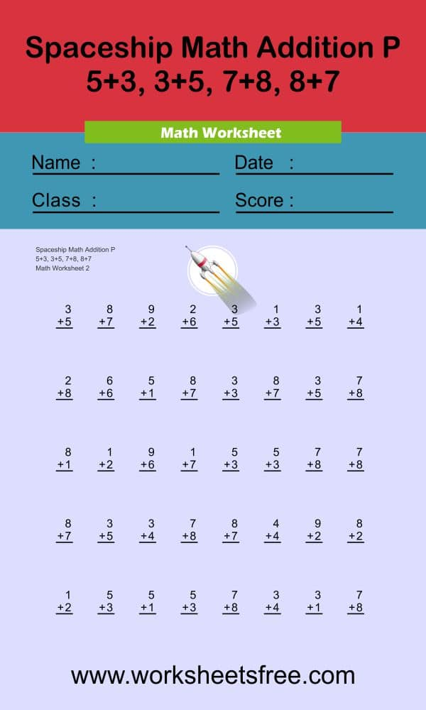 Spaceship Math Addition P 2