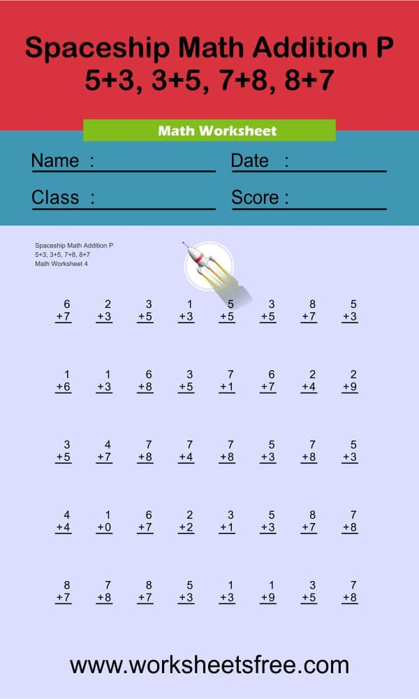 Spaceship Math Addition P 4