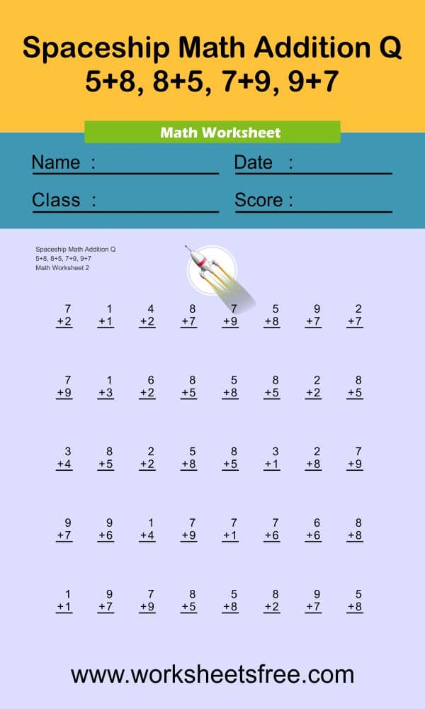 Spaceship Math Addition Q 2