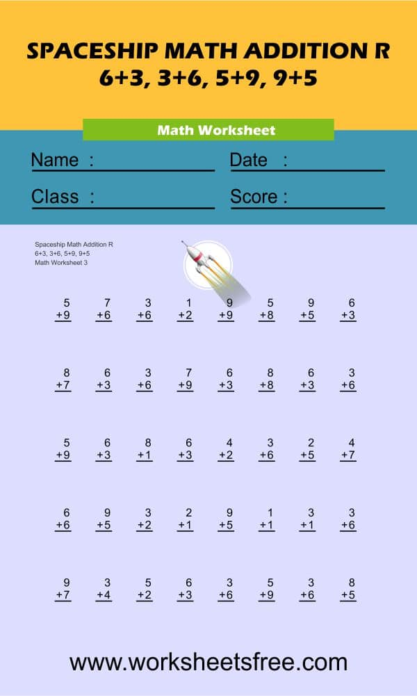 Spaceship Math Addition R 3