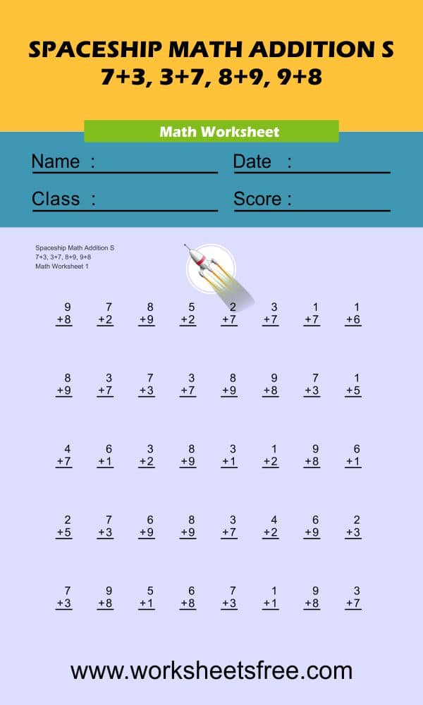Spaceship Math Addition S 1