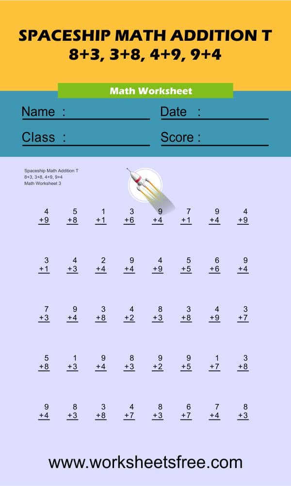 Spaceship Math Addition T 3