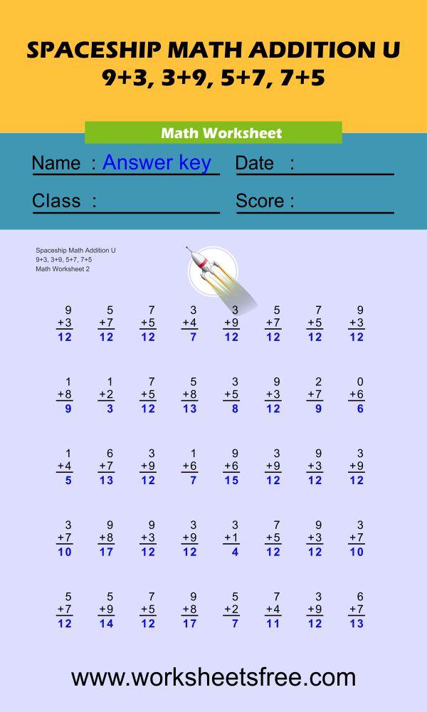 Spaceship Math Addition U 2 + answer