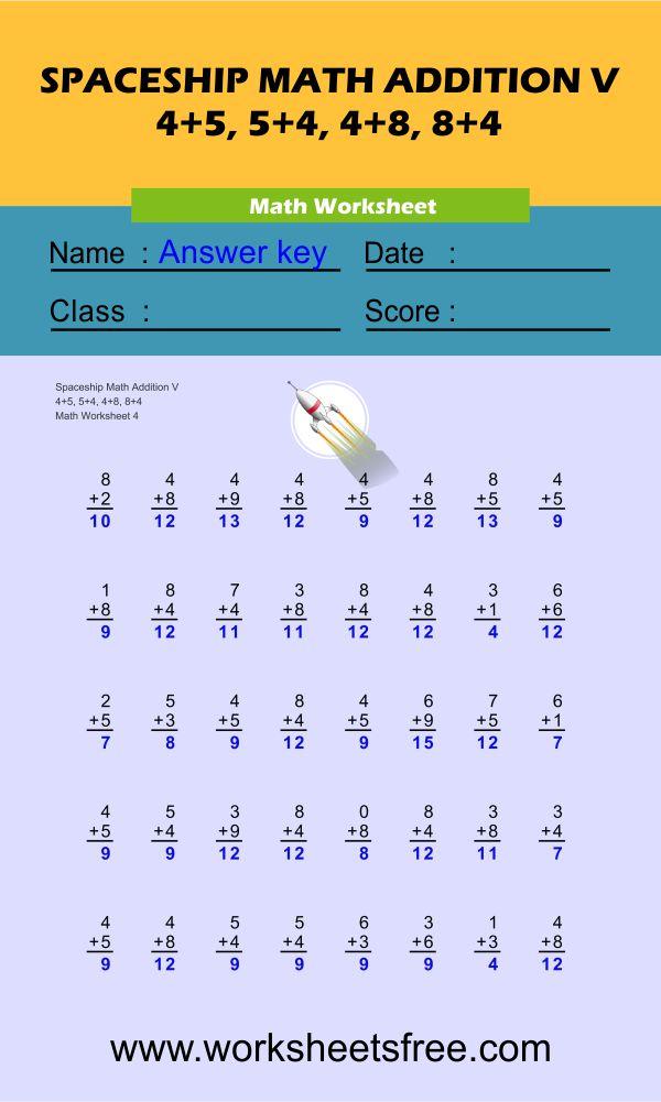 Spaceship Math Addition V 4 + answer