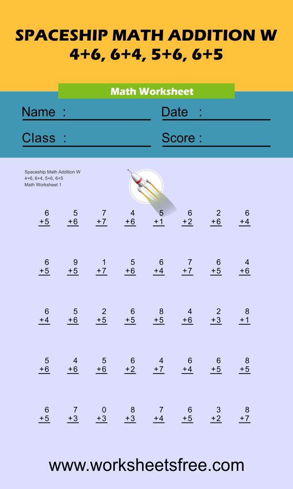 Spaceship Math Addition W 1