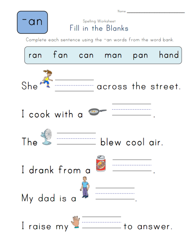 Spelling -an Words - Spelling Worksheets Complete the Sentences with -an Words