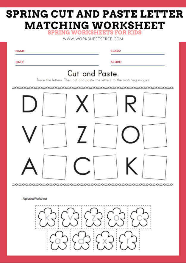 Spring Cut and Paste Letter Matching Worksheet