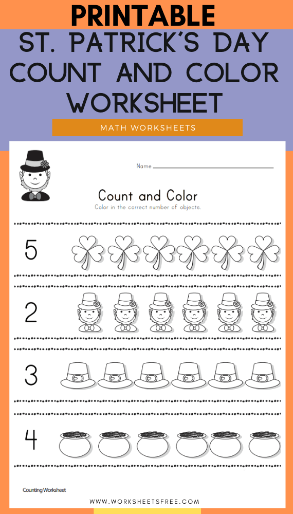 St. Patrick's Day Count and Color Worksheet