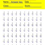 Subtraction Worksheets-Subtraction with Negative Results 2
