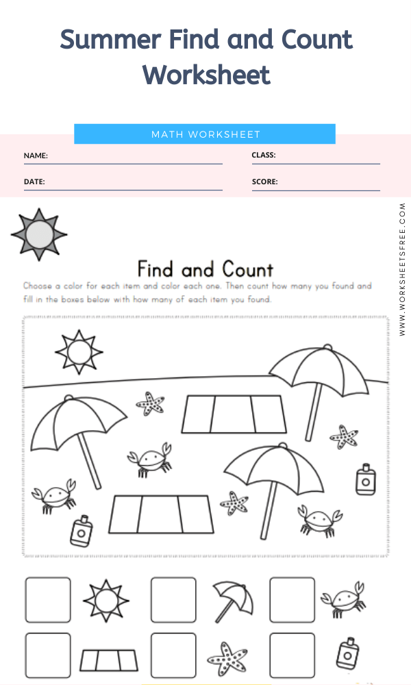 Summer Find and Count Worksheet