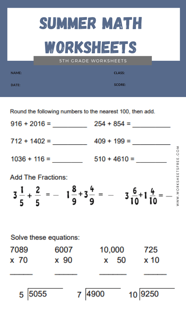 Summer Math Worksheets 5th Grade 5