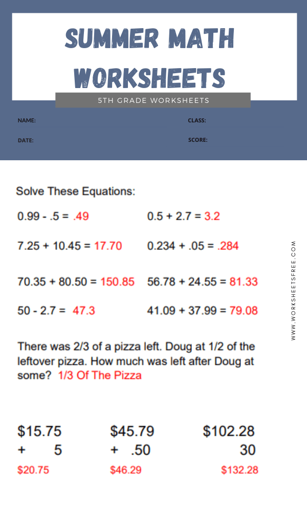 Summer Math Worksheets 5th Grade answer 8