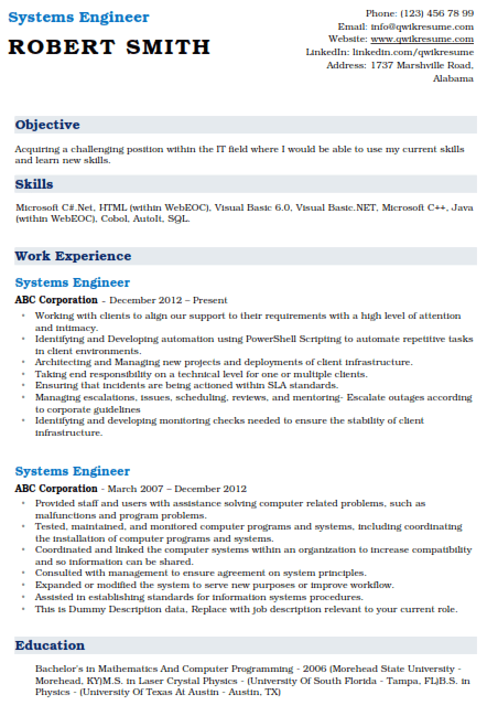 System Engineer Resume Example 1