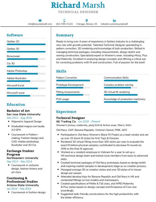 Technical Designer Resume Sample 1