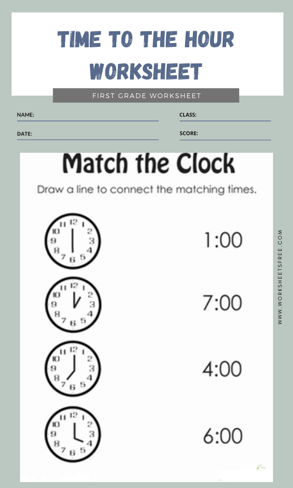 Time To The Hour Worksheet 4