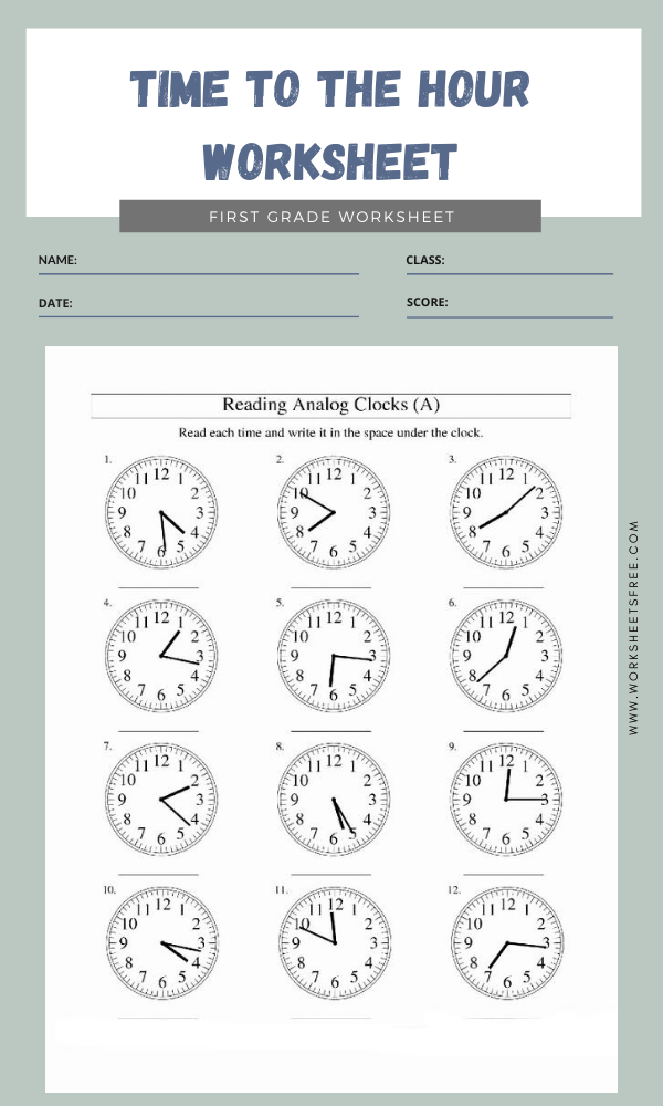 Time To The Hour Worksheet 5