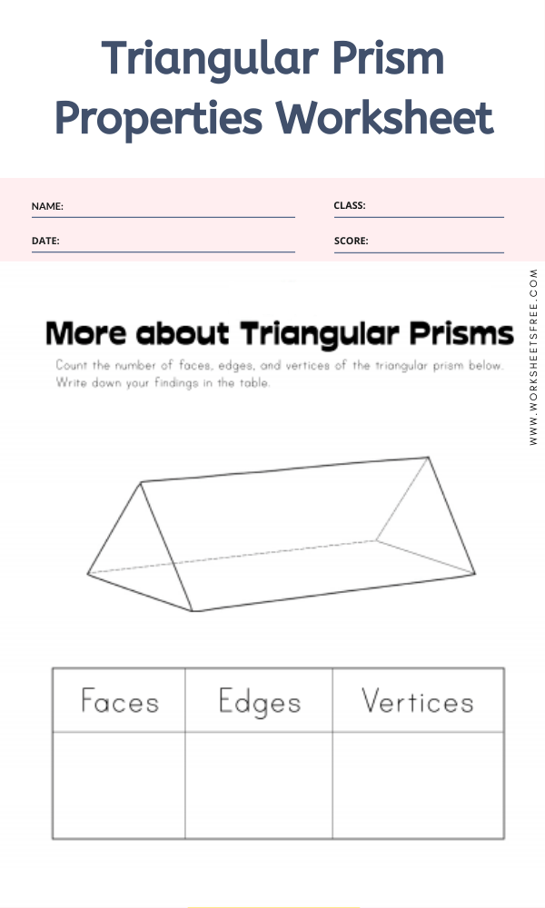 Triangular Prism Properties Worksheet