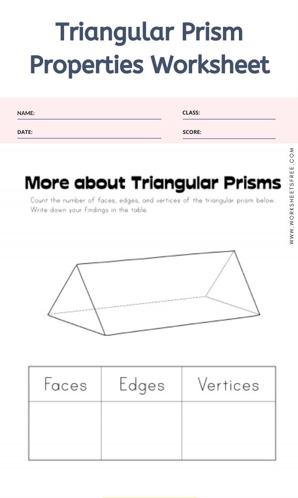 Triangular Prism Properties Worksheet
