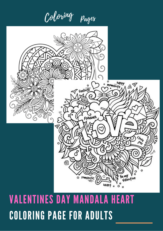 Valentines Day Mandala Heart Coloring Page for Adults