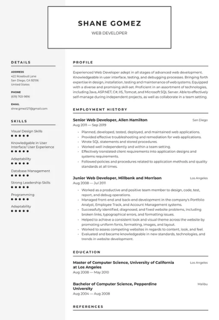 Web Developer Resume Example 4