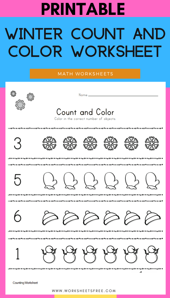 Winter Count and Color Worksheet