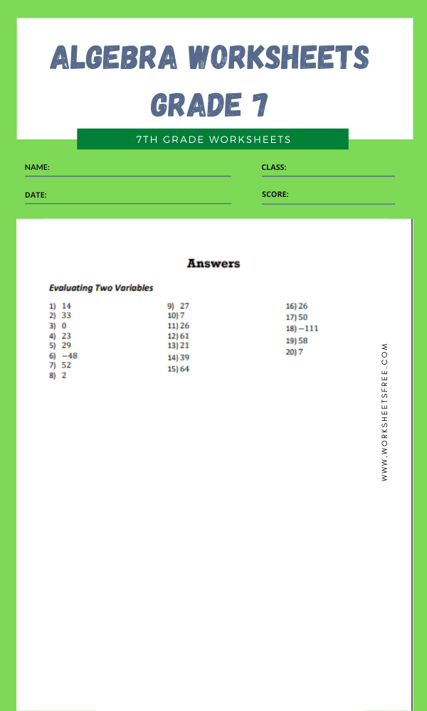 algebra worksheets grade 7 12