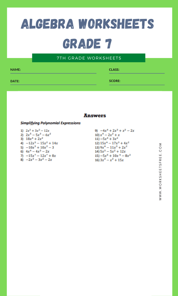 algebra worksheets grade 7 4