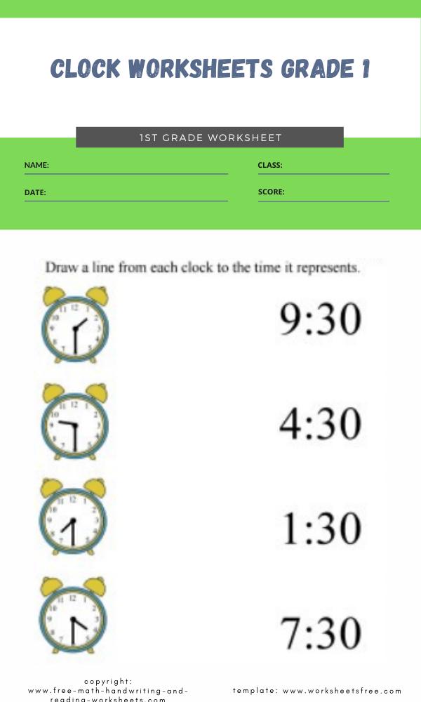 clock worksheets grade 1 5
