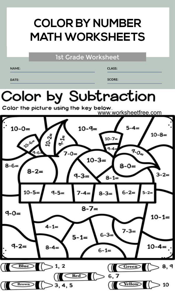 Color By Number Math Worksheets 1st Grade 1 Worksheets Free