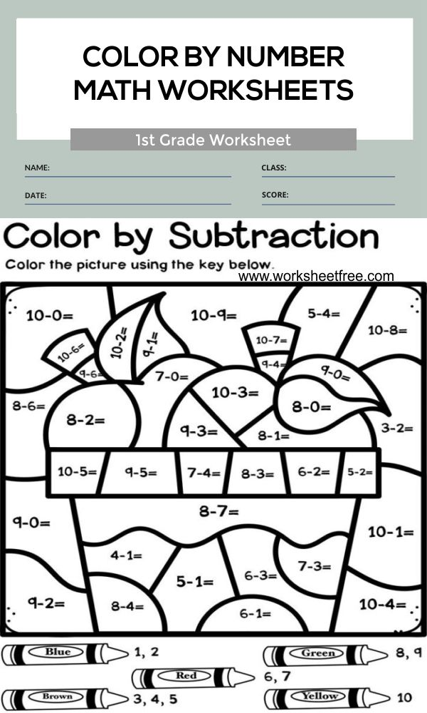 color by number math worksheets 1st grade 1