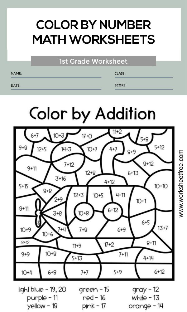 color by number math worksheets 1st grade 4
