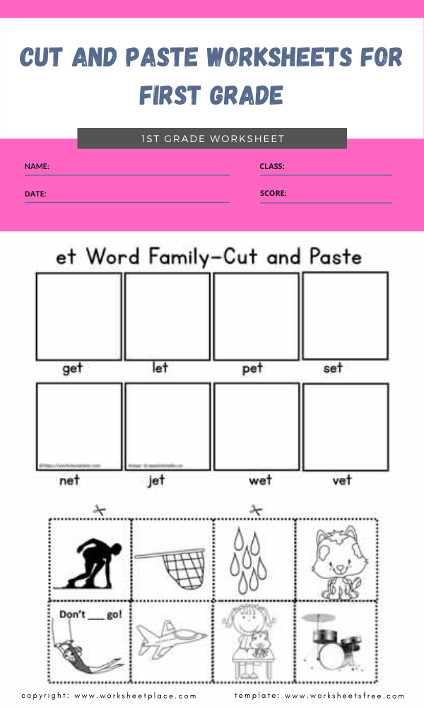 cut and paste worksheets for first grade 3