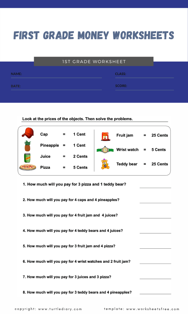 first grade money worksheets 4